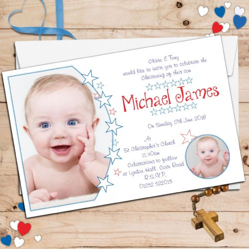 10 Personalised Boys Christening Baptism PHOTO Invitations N101